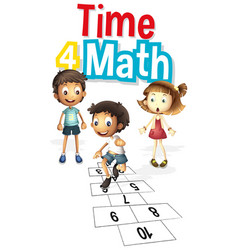 Font design for word time 4 math with kids vector