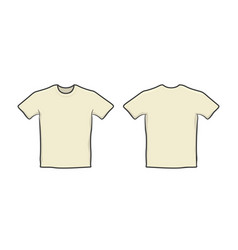 front and back blank t-shirt template vector image