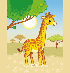 Giraffe stands in savannah cute african vector