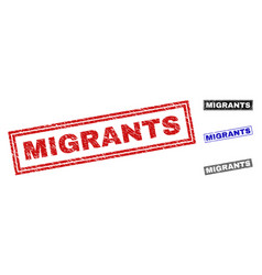 Grunge migrants scratched rectangle watermarks vector