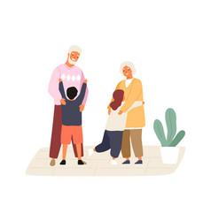 happy grandchildren meeting and hugging vector image