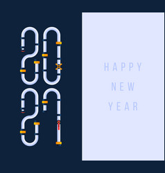 happy new year 2021 greeting card with cartoon vector image