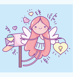 happy valentines day cute cupid with padlock and vector image