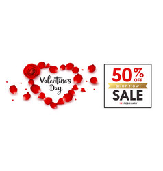 happy valentines day rose sale heart shape vector image