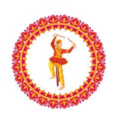 Hindu dancer traditional character icon vector