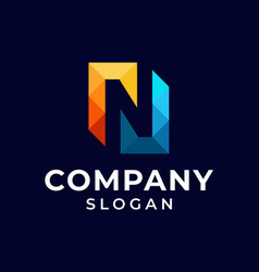 initial letter n pixel logo design vector image