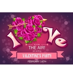 Invitation card with flowers to party on vector image