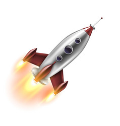 isolated realistic rocket vector image