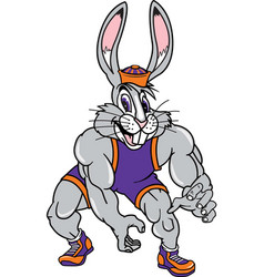 jack rabbit sports wrestling logo mascot vector image