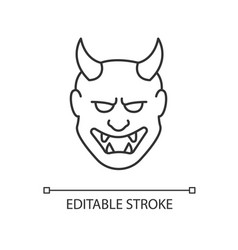 Japanese mask pixel perfect linear icon hannya vector