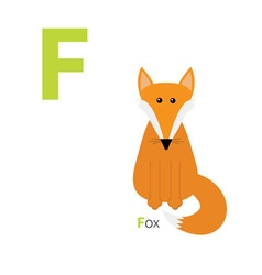 Letter F Fox Zoo alphabet English abc with animals vector