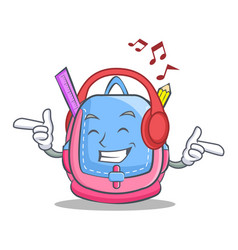 Listening music school bag character cartoon vector