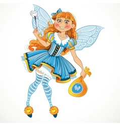 Little tooth fairy with bag of tooth with wings vector image