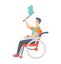 Man on wheelchair portrait middle age vector
