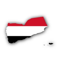 map and flag of yemen vector image