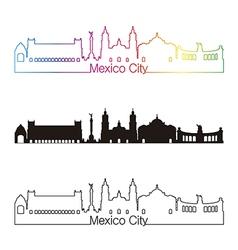 Mexico City skyline linear style with rainbow vector image