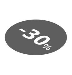 Minus 30 percent sale black icon isometric style vector