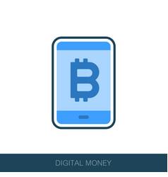 Mobile bitcoin business app icon vector