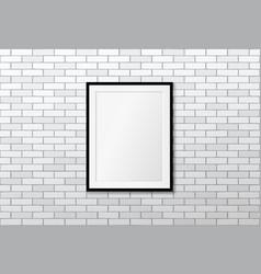 modern frame on brick wall mock up vector image