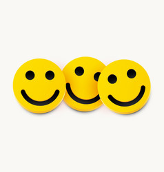 Modern yellow laughing three smiles friendship vector