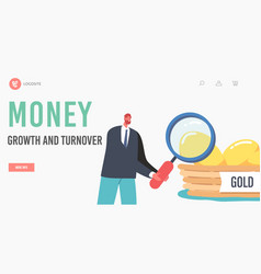 Money growth and turnover landing page template vector