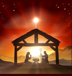 Nativity christian christmas scene vector