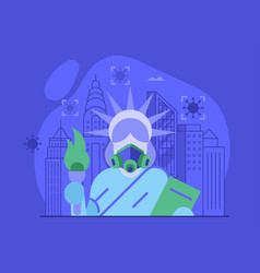 New york and usa on quarantine concept vector