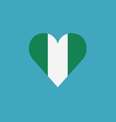 nigeria flag icon in a heart shape in flat design vector image