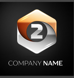 number two logo symbol in the colorful hexagonal vector image