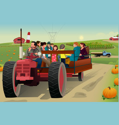 people on a hayride vector image