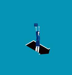 Pitfall arrow sign business trap concept vector