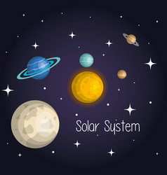 Planets of the solar system space astrology vector