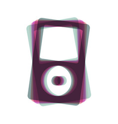 Portable music device colorful icon vector