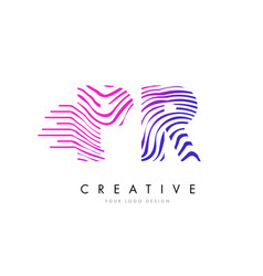 Pr p r zebra lines letter logo design with vector