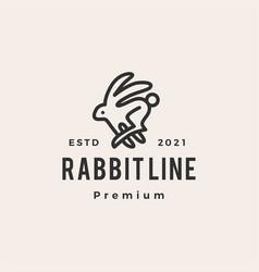 Rabbit line outline monoline hipster vintage logo vector