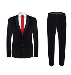 red tie white shirt and black suit close up vector image