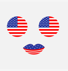 round circle shape american flag icon set face vector image