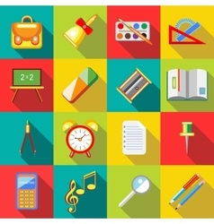 School supplies icons set flat ctyle vector image