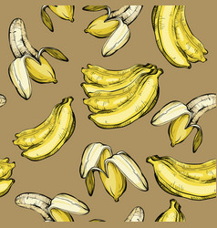 Seamless fruit pattern with banana vector