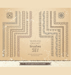 Set 10 vintage lace crochet seamless brushes vector