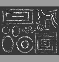 set chalk white frames on dark background vector image