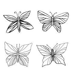 set coloring butterflies isolated white vector image