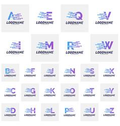set font with technology logo design concepts vector image