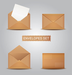 Set kraft envelopes open and closed envelope vector