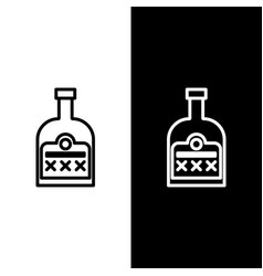 Set line alcohol drink rum bottle icon isolated on vector