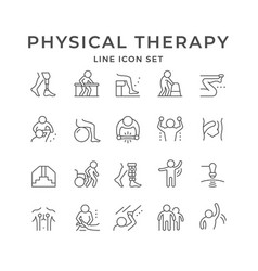 Set line icons physical therapy vector