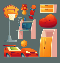 Set of children bedroom playroom vector