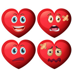 set of heart character vector image