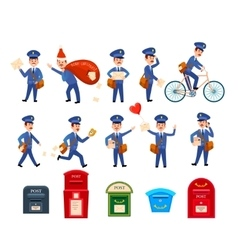 Set of Intersting Icons with Postman Characters vector image
