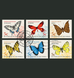 set of postage stamps with various butterflies vector image